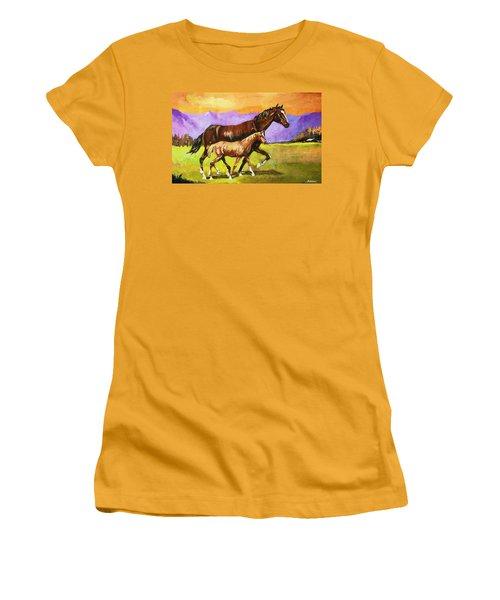 Family Stroll Women's T-Shirt (Junior Cut) by Al Brown