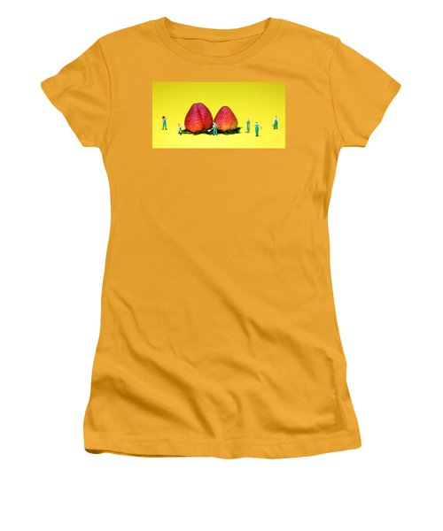 Farmers Working Around Strawberries Women's T-Shirt (Athletic Fit)