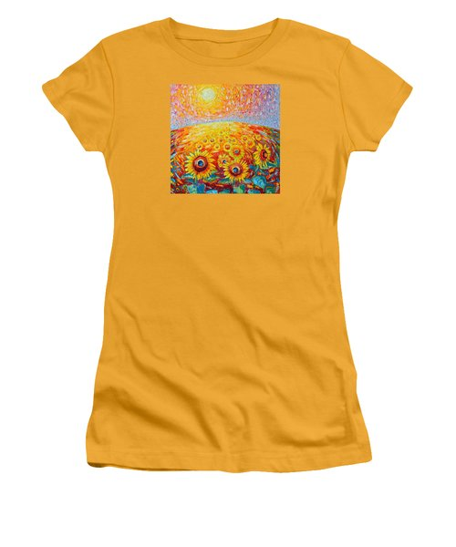 Fields Of Gold - Abstract Landscape With Sunflowers In Sunrise Women's T-Shirt (Junior Cut) by Ana Maria Edulescu