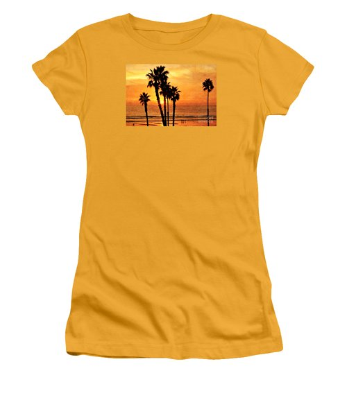 Fiery California Sunset Oceanside Beach Women's T-Shirt (Athletic Fit)