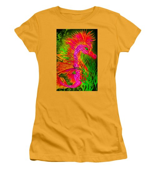 Women's T-Shirt (Junior Cut) featuring the painting Fiery Sea Horse by Adria Trail
