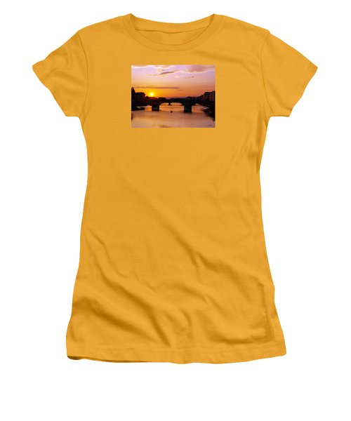 Women's T-Shirt (Junior Cut) featuring the photograph Florence Sunset  by Haleh Mahbod