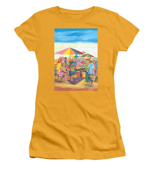 Women's T-Shirt (Junior Cut) featuring the painting Food Market In Cameroon by Emmanuel Baliyanga