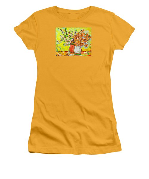 Forsythia And Cherry Blossoms Spring Flowers Women's T-Shirt (Athletic Fit)