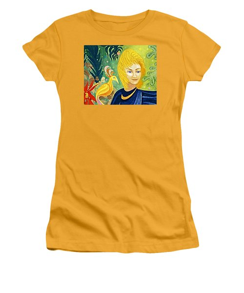 Women's T-Shirt (Junior Cut) featuring the painting Gaia - Spirit Of Nature by Hartmut Jager
