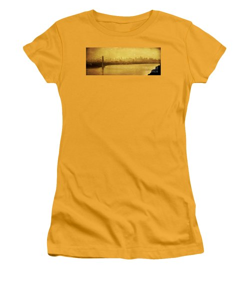 Women's T-Shirt (Junior Cut) featuring the photograph George Washington Bridge by Debra Fedchin