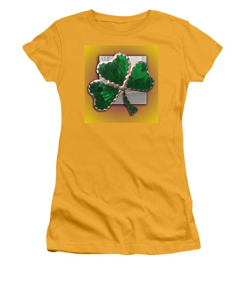 Women's T-Shirt (Junior Cut) featuring the photograph Glass Shamrock by Barbara McDevitt