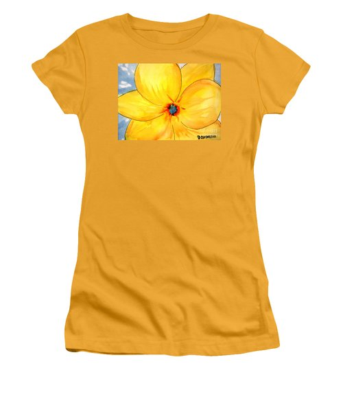 Women's T-Shirt (Athletic Fit) featuring the painting Glicee Cyan-a-floral by Clayton Bruster