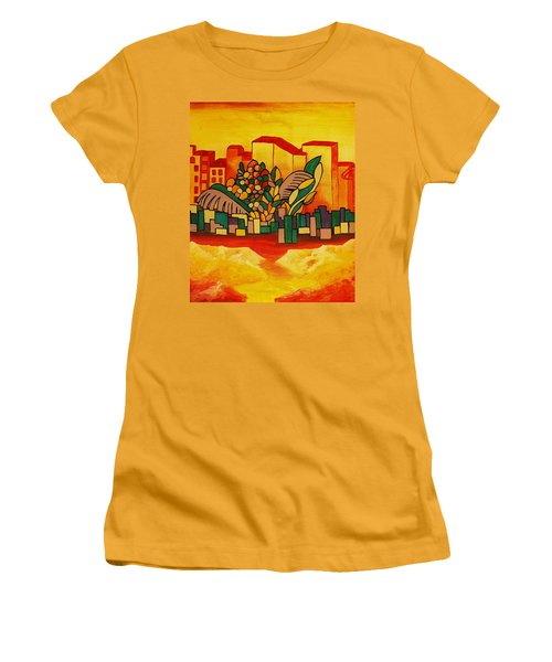 Women's T-Shirt (Junior Cut) featuring the painting Global Warning by Barbara St Jean