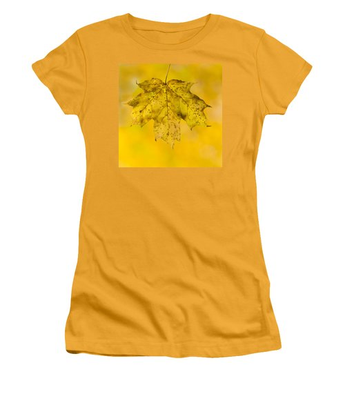 Women's T-Shirt (Junior Cut) featuring the photograph Golden Maple Leaf by Sebastian Musial
