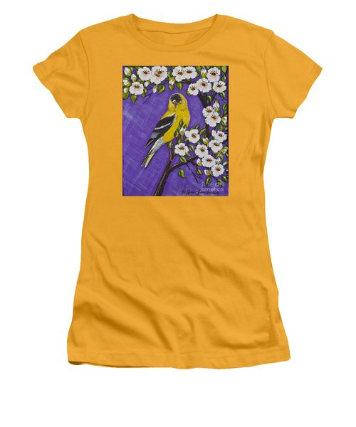 Goldfinch In Pear Blossoms Women's T-Shirt (Athletic Fit)