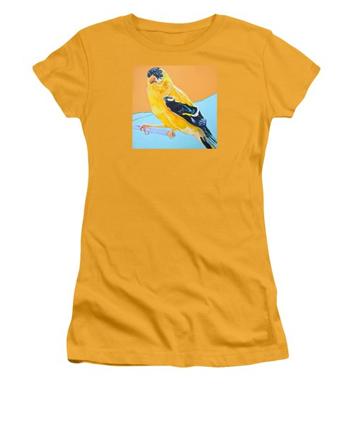 Goldfinch Women's T-Shirt (Junior Cut) by Jamie Downs
