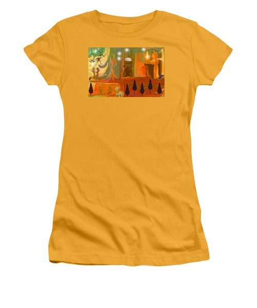 Women's T-Shirt (Junior Cut) featuring the painting Grandpas House For His Little Peeps by Sherri  Of Palm Springs