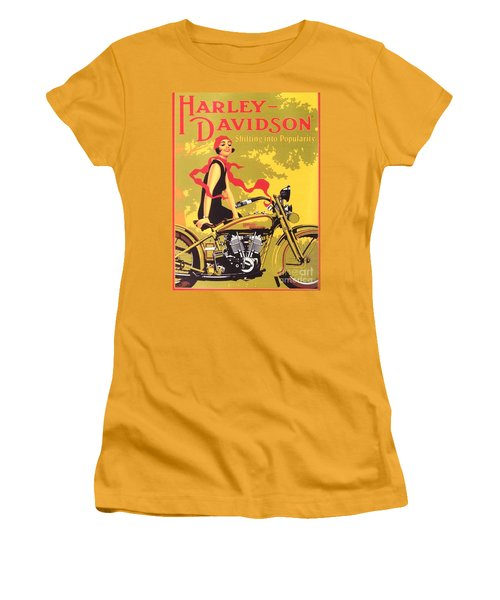 Women's T-Shirt (Junior Cut) featuring the painting Harley Davidson 1927 Poster by Reproduction