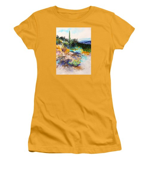 Women's T-Shirt (Junior Cut) featuring the painting High Desert Scene 2 by M Diane Bonaparte