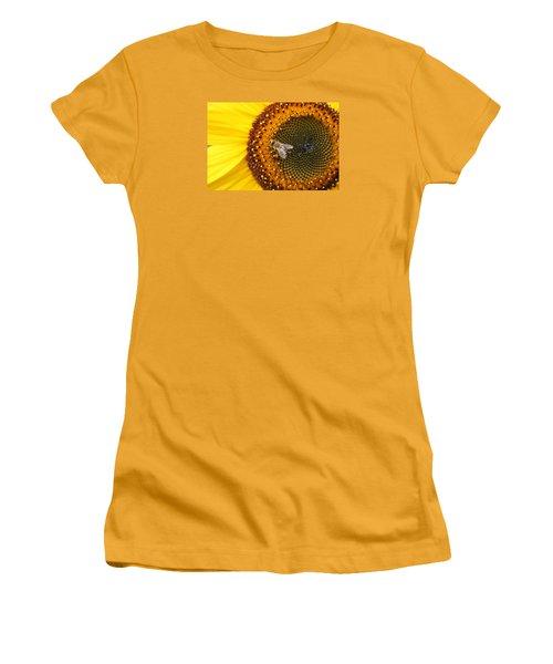Honeybee On Sunflower Women's T-Shirt (Junior Cut) by Lucinda VanVleck