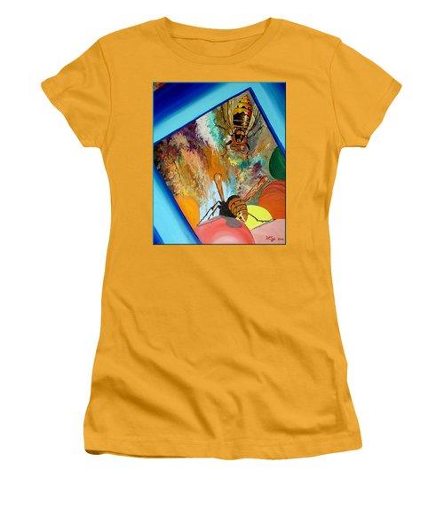 Women's T-Shirt (Junior Cut) featuring the painting Hornets by Daniel Janda