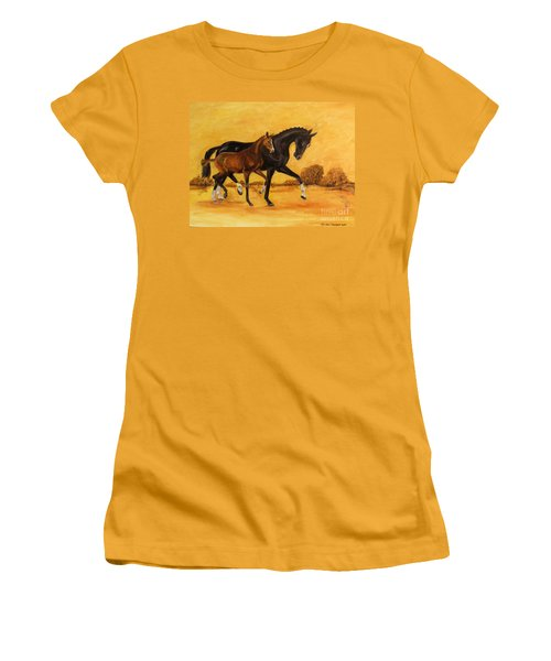 Women's T-Shirt (Junior Cut) featuring the painting Horse - Together 2 by Go Van Kampen