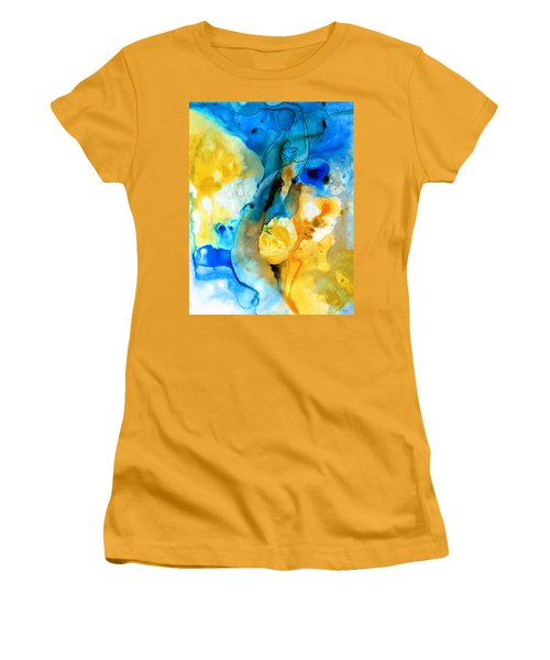 Women's T-Shirt (Athletic Fit) featuring the painting Iced Lemon Drop - Abstract Art By Sharon Cummings by Sharon Cummings
