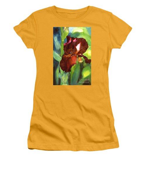Women's T-Shirt (Junior Cut) featuring the painting Iris Sienna Brown by Greta Corens