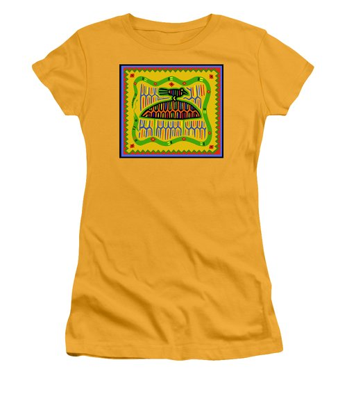 Women's T-Shirt (Junior Cut) featuring the digital art Kuna Bird With Snake by Vagabond Folk Art - Virginia Vivier