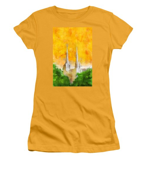 Women's T-Shirt (Junior Cut) featuring the painting Like A Fire Is Burning by Greg Collins