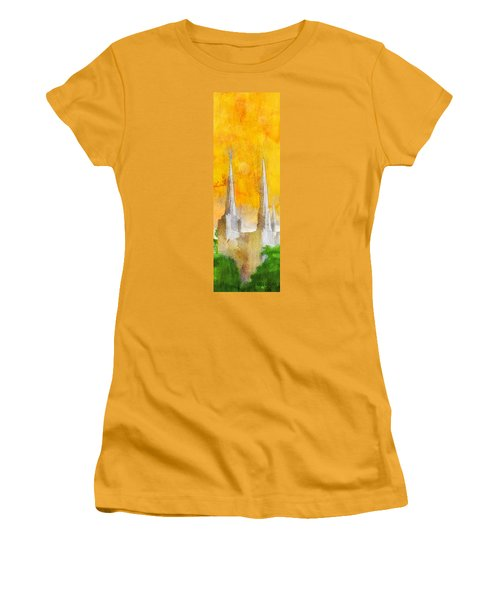 Women's T-Shirt (Junior Cut) featuring the painting Like A Fire Is Burning - Panoramic by Greg Collins