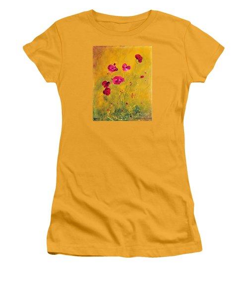 Lonely Poppies Women's T-Shirt (Junior Cut) by Teresa Wegrzyn