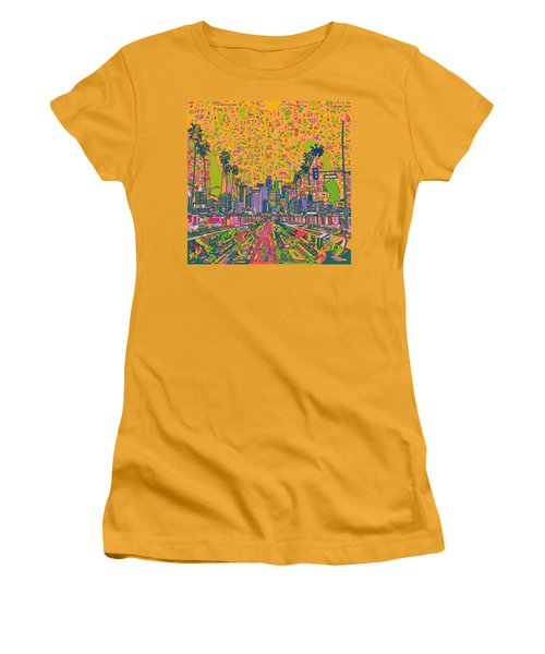 Los Angeles Skyline Abstract Women's T-Shirt (Athletic Fit)