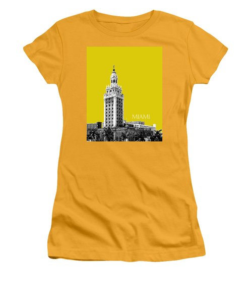 Miami Skyline Freedom Tower - Mustard Women's T-Shirt (Athletic Fit)