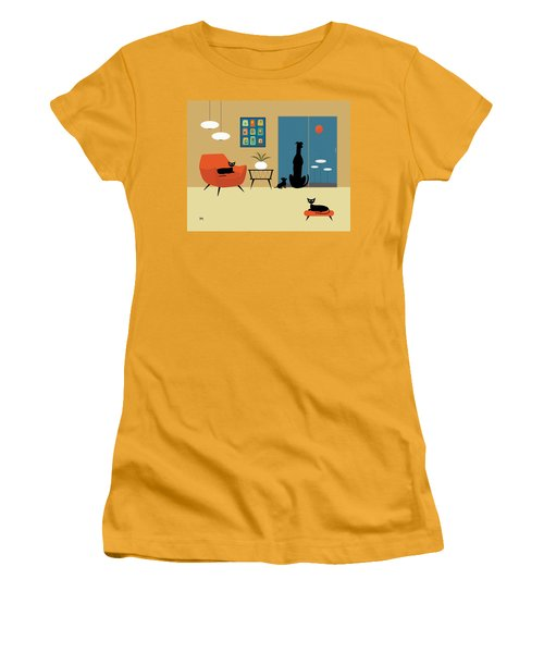 Mid Century Dogs And Cats Women's T-Shirt (Athletic Fit)