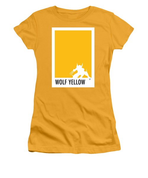My Superhero 05 Wolf Yellow Minimal Poster Women's T-Shirt (Athletic Fit)
