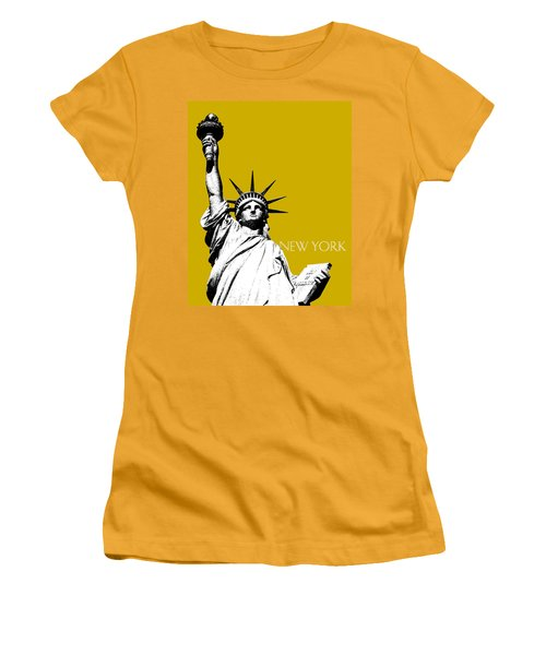 New York Skyline Statue Of Liberty - Gold Women's T-Shirt (Athletic Fit)