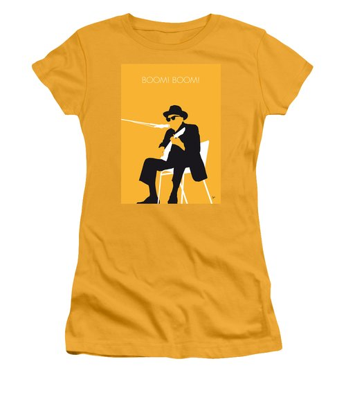 No054 My Johnny Lee Hooker Minimal Music Poster Women's T-Shirt (Junior Cut) by Chungkong Art
