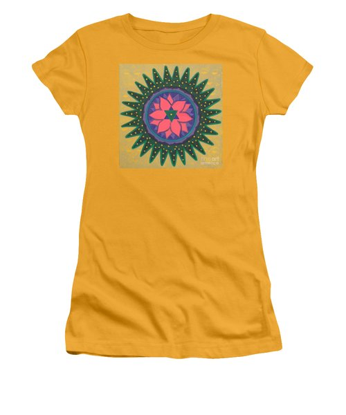 Women's T-Shirt (Junior Cut) featuring the painting One Gold Bindu by Mini Arora