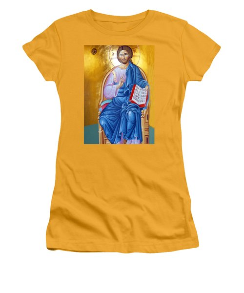 Orthodox Icon Of Jesus In Blue Women's T-Shirt (Athletic Fit)