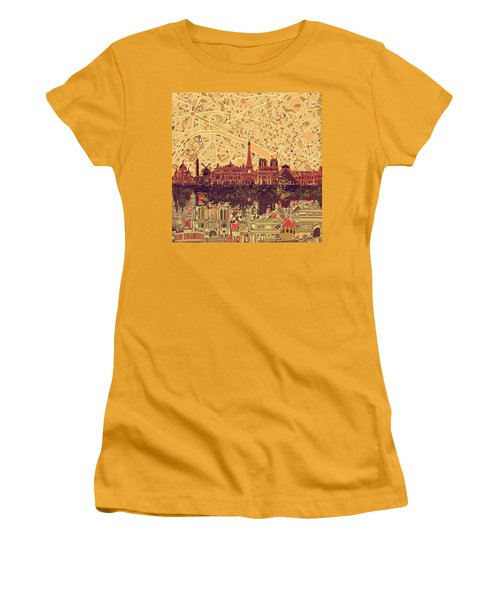 Paris Skyline Abstract Sepia Women's T-Shirt (Athletic Fit)