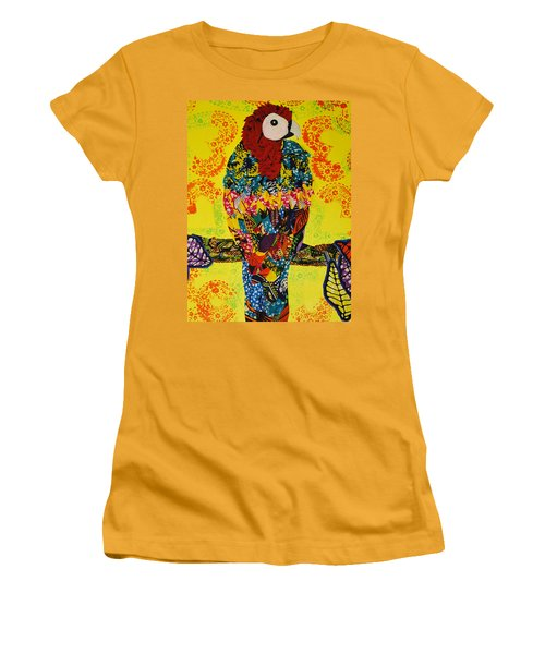 Women's T-Shirt (Junior Cut) featuring the tapestry - textile Parrot Oshun by Apanaki Temitayo M