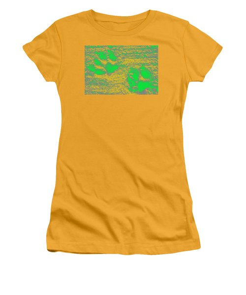 Paw Prints In Yellow And Lime Women's T-Shirt (Athletic Fit)