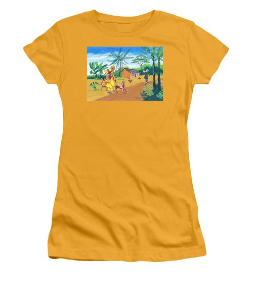 Women's T-Shirt (Junior Cut) featuring the painting Paysage Du Sud Du Cameroon by Emmanuel Baliyanga