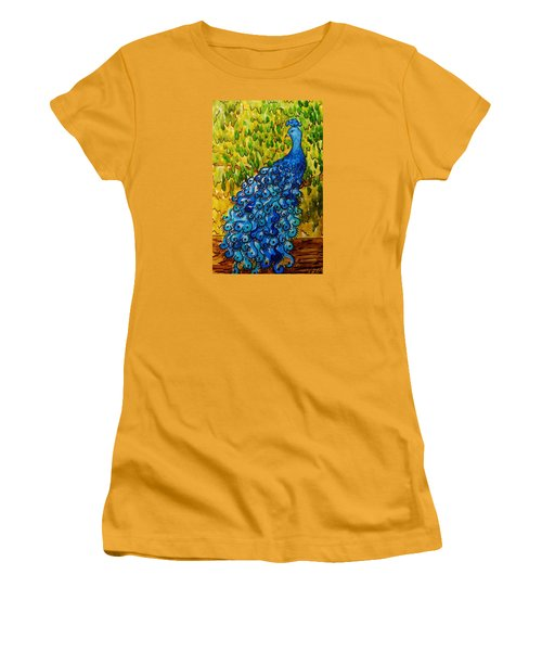 Women's T-Shirt (Junior Cut) featuring the painting Peacock by Katherine Young-Beck