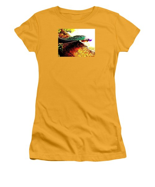 Women's T-Shirt (Junior Cut) featuring the photograph Peacock Tail by Vanessa Palomino