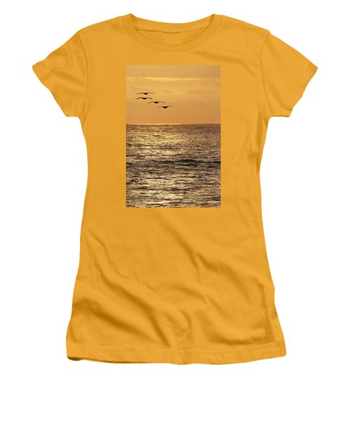Women's T-Shirt (Junior Cut) featuring the photograph Pelicans Ocean And Sunsetting by Tom Janca