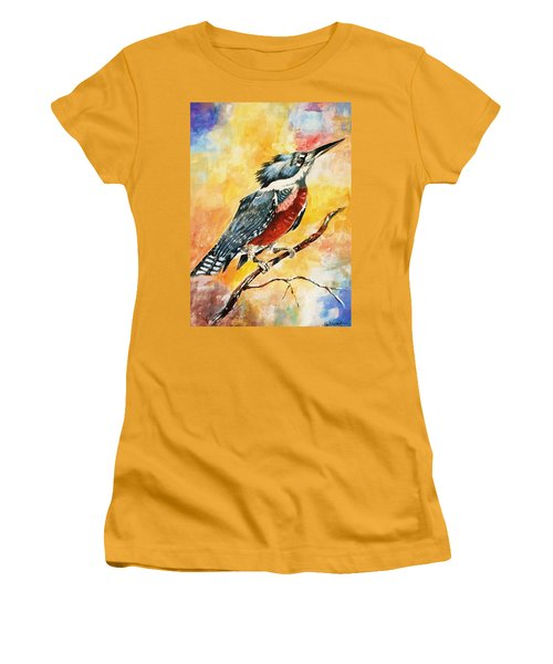 Perched Kingfisher Women's T-Shirt (Junior Cut) by Al Brown