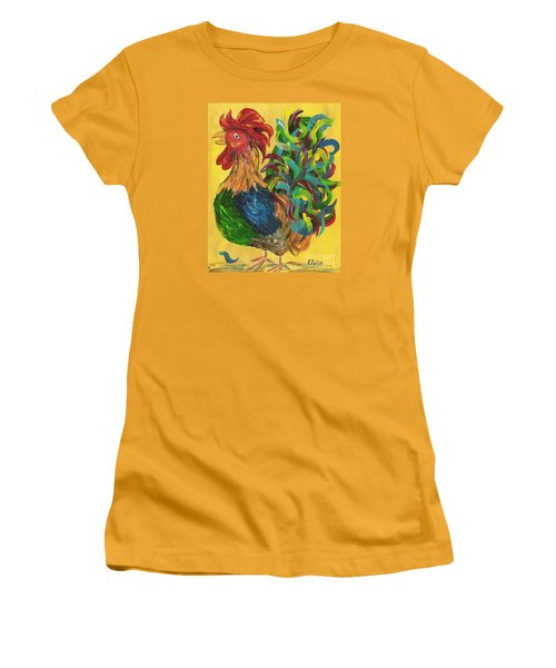 Women's T-Shirt (Junior Cut) featuring the painting Plucky Rooster  by Eloise Schneider