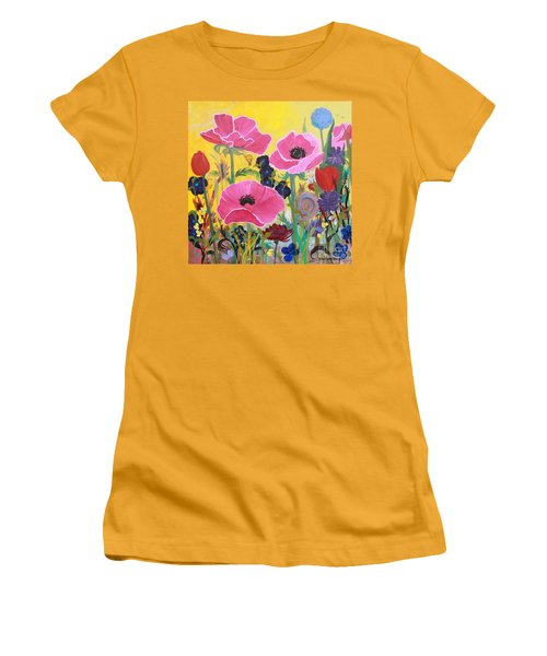 Poppies And Time Traveler Women's T-Shirt (Junior Cut) by Robin Maria Pedrero