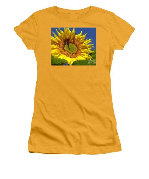 Women's T-Shirt (Junior Cut) featuring the photograph Portrait Of A Sunflower by Diane Miller
