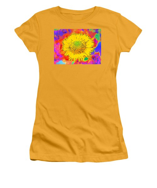 Women's T-Shirt (Junior Cut) featuring the painting Rainbow Colored Sunshine Flower- Because I'm Happy by David Mckinney