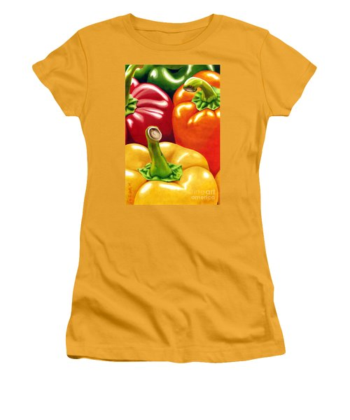 Rainbow Of Peppers Women's T-Shirt (Athletic Fit)