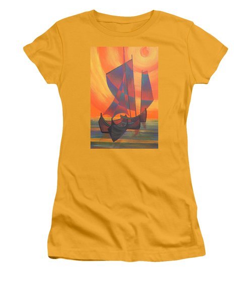 Women's T-Shirt (Junior Cut) featuring the painting Red Sails In The Sunset by Tracey Harrington-Simpson
